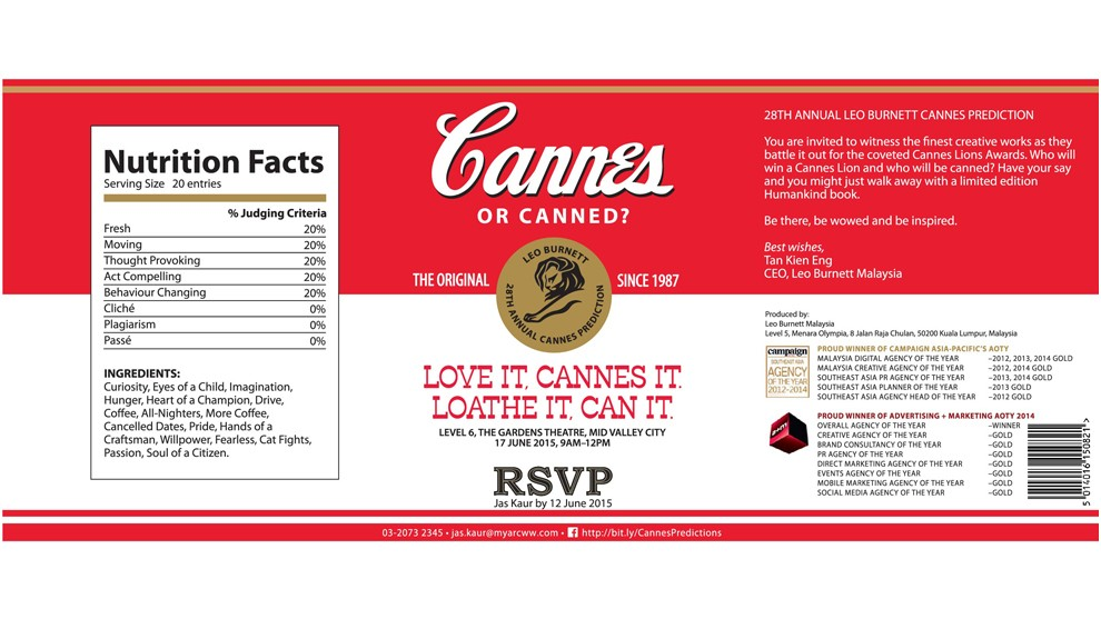 Leo Burnett Malaysia pushes creativity to greater heights with Cannes Predictions 2015